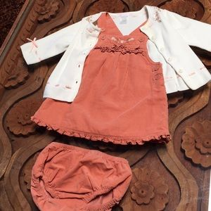 Janie and jack peach corduroy jumper outfit